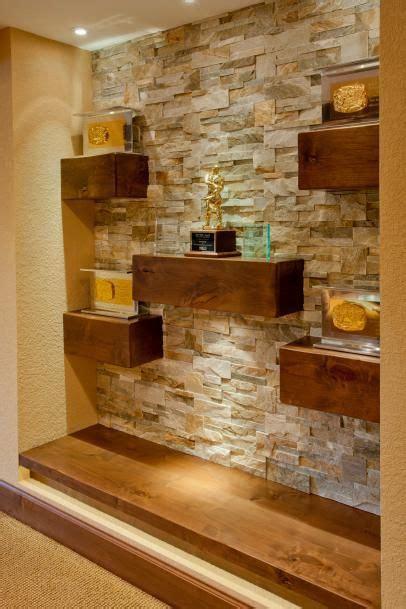 floating wood shelves  natural stone wall stone walls