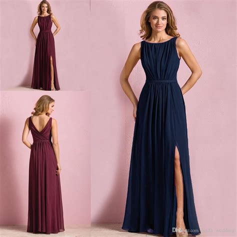 colored dresses navy blue wine colored bridesmaid dress a line