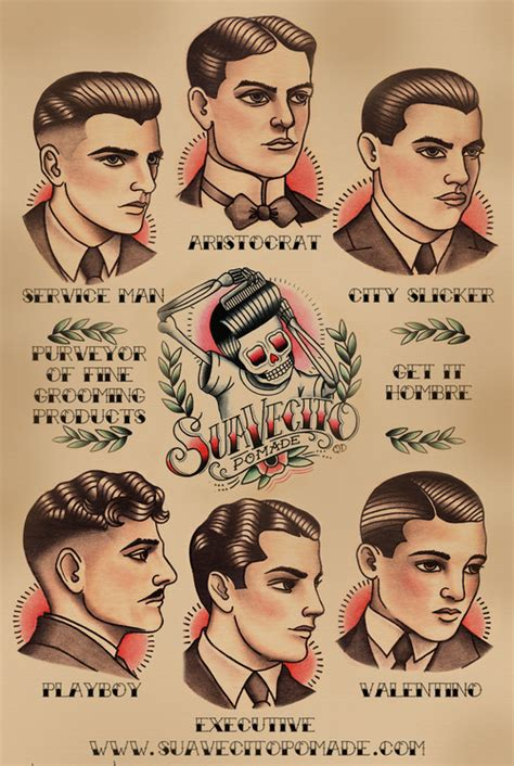 drawings of 1950 boy s hairstyles suavecito pomade