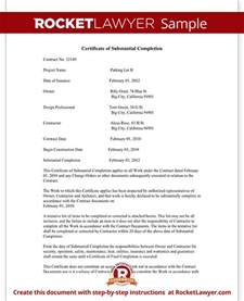 Certificate Of Substantial Completion Template by Certificate Of Substantial Completion Form Rocket Lawyer