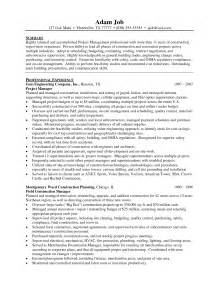 construction project manager resume sle doc best sle resume construction