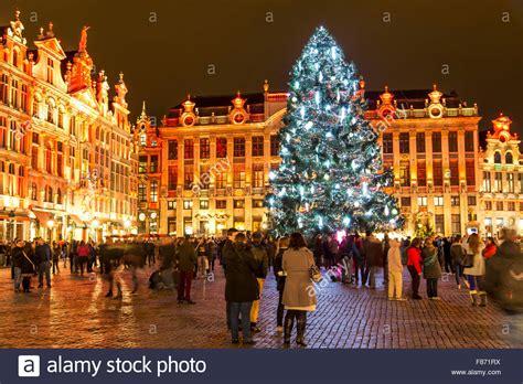 christmas time in brussels belgium huge christmas tree