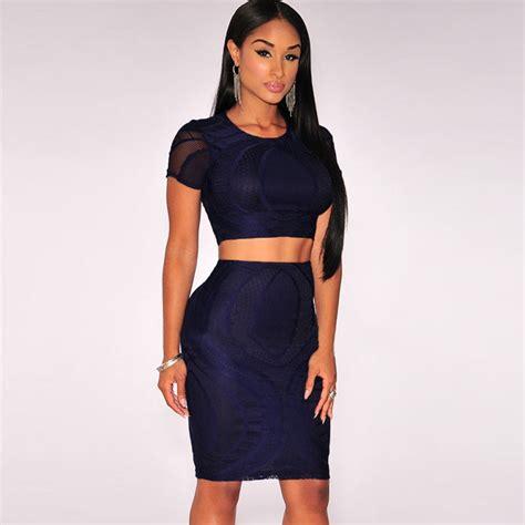 Hq 14819 Set Top Skirt 2015 sleeve crop top dress set high quality lace two dress club