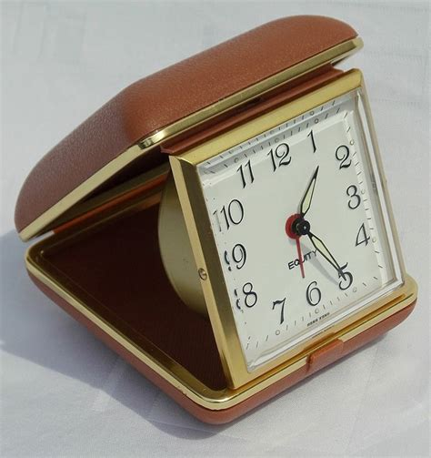 vintage equity hong kong retro fold up mechanical travel alarm clock working time childhood