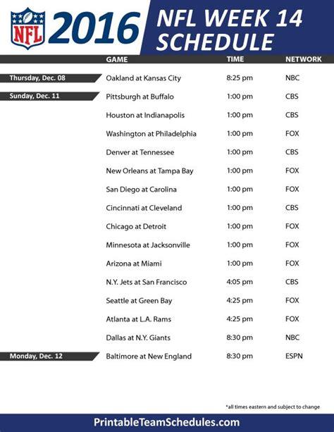 printable nfl schedule for week 7 nfl week 14 schedule nfl pinterest nfl week and tv