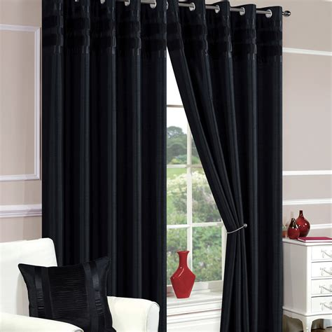 curtains denver denver faux silk black ready made eyelet curtains eyelet