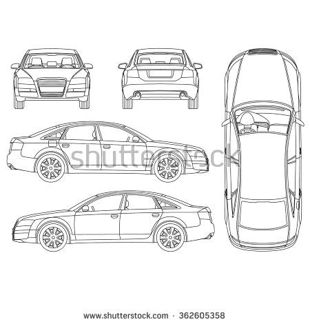 car layout vector car line drawing clip art 74