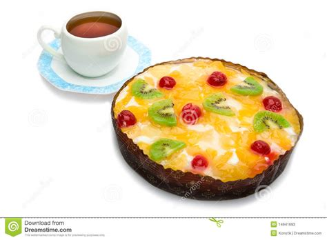 pie fruit with cottage cheese and cup with saucer stock