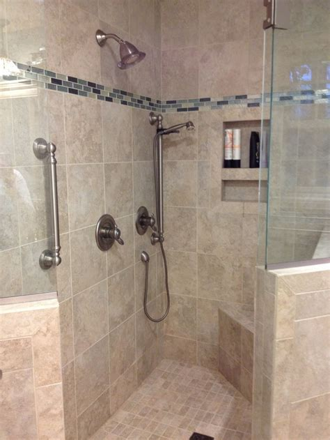 custom tile bathrooms this custom tile shower has a built in shower caddie