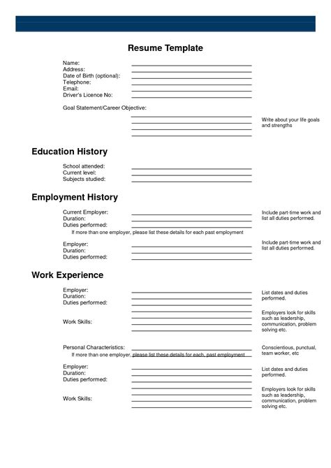 printable resume templates for free free printable resume templates student resume template