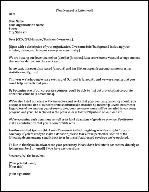Sponsorship Executive Cover Letter by Sponsorship Letters Learn How To Raise More Money With Exles