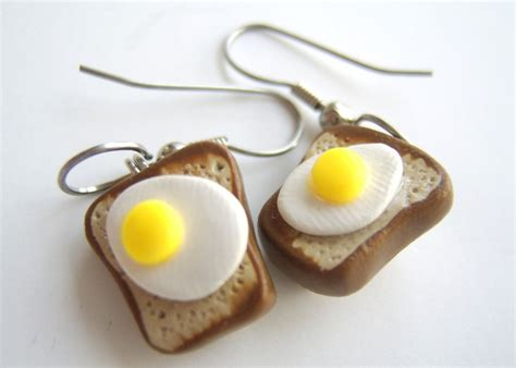 Egg Earring custom made toast and egg earrings 100 crafted in