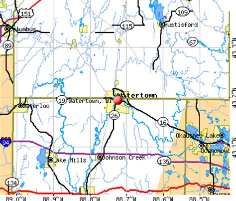watertown wi map watertown wisconsin wi 53094 profile population maps