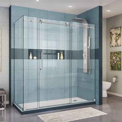 Corner Shower Doors Glass Dreamline Enigma X 72 3 8 In X 76 In H Frameless Corner Sliding Shower Enclosure In Brushed