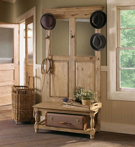 hall tree with bench and mirror rustic natural wooden design with simple hooks and mirrors