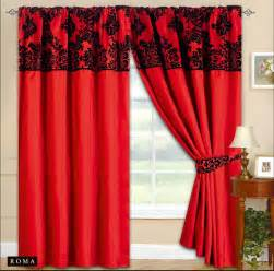 Orange Curtain Tie Backs Fully Lined Tape Top Curtains Elegance Red With Black