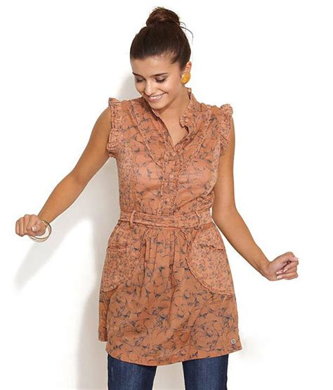 brown pattern tunic buy remanika brown printed synthetic tunic online at best
