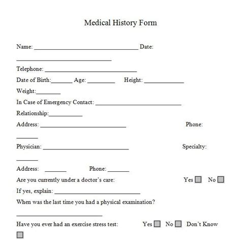 Printable Medicalhistory Forms In Word And Pdf Format Personal Trainers Forms Pinterest Personal Registration Form Template