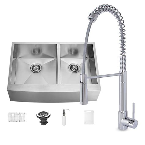 farmhouse sink with faucet holes vigo all in one farmhouse matte stone 36 in 0 hole