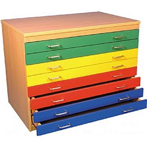 8 Drawer Multi Coloured Plan Chest Art Crafts Storage