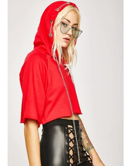 Doin Damage Hoodie lace up cropped sweater dolls kill