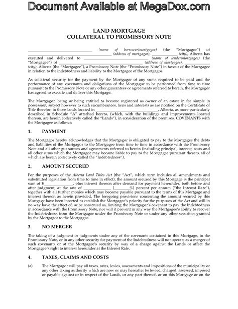 Mortgage Promise Letter Alberta Collateral Mortgage And Promissory Note Forms And Business Templates Megadox