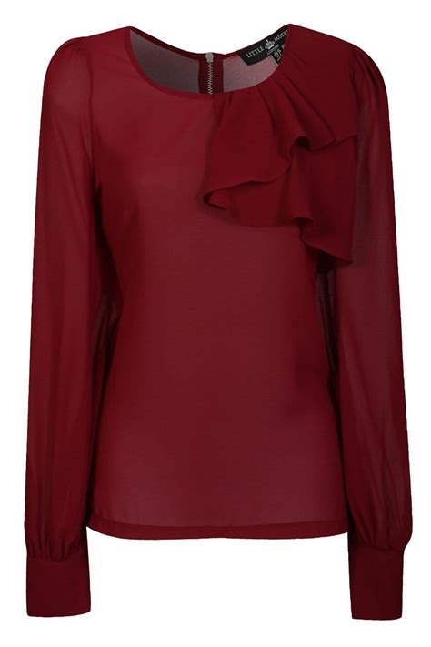 Detail Top burgundy chiffon sleeve top with