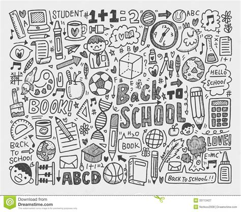 doodle drawing pictures draw doodle school element stock vector image 33713427