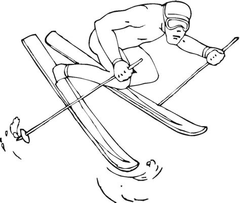free coloring pages of kids skiing