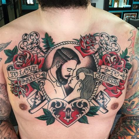 traditional chest tattoo by rob hamilton