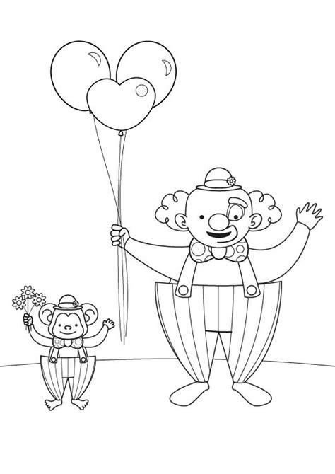 dibujos infantiles para colorear de payasos payaso y mono dibujo para colorear e imprimir
