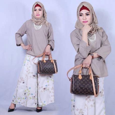 Yw Set Kulot Brown kulot andien d grey baju muslim gamis modern