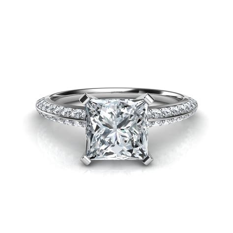 Princess Cut by Knife Edge Pave Princess Cut Engagement Ring In 14k White Gold