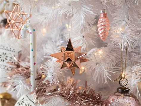 white decorations uk white tree with stylish gold and pink