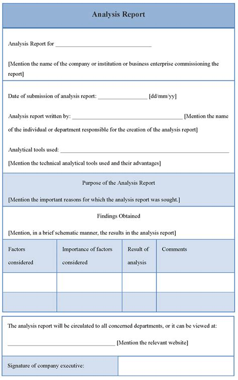 technical analysis report template report template for analysis format of analysis report