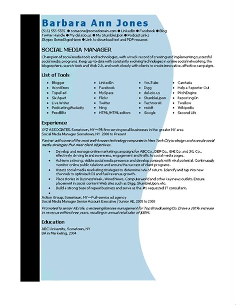 Resume Template Manager Word Microsoft Word Social Media Manager Resume Template