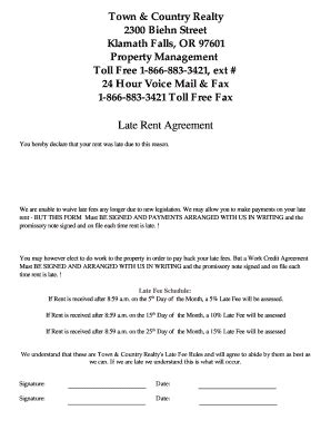 Agreement Letter To Pay Rent Late Rent Payment Agreement Form Free Printable Documents