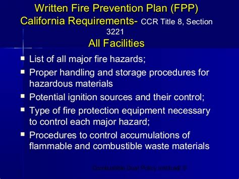california section 8 requirements california lower rate of combustible dust related