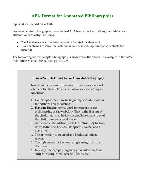 Modification Research Paper by Apa Annotated Bibliography Exle Search
