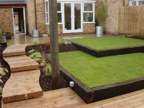 Garden Sleepers Ideas Reclaimed Railway Sleepers 2 Level Lawn Almost Outdoors