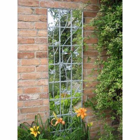 parallax galvanised metal leaf trellis garden mirror