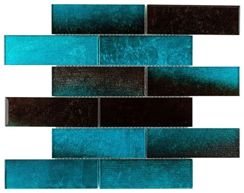 glass subway tile sparkling turquoise 2x6 mineral tiles