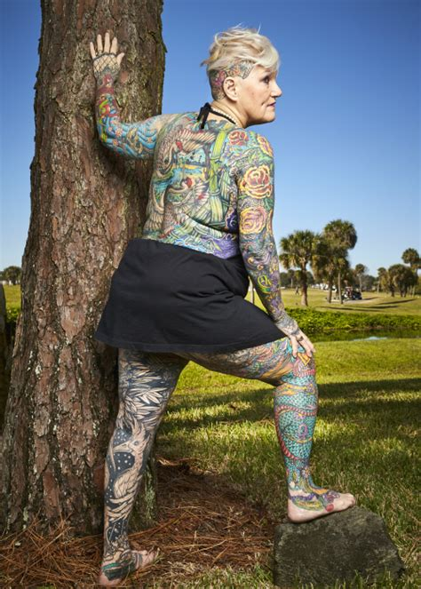 most tattooed woman in the world 69 year becomes the most tattooed with 98