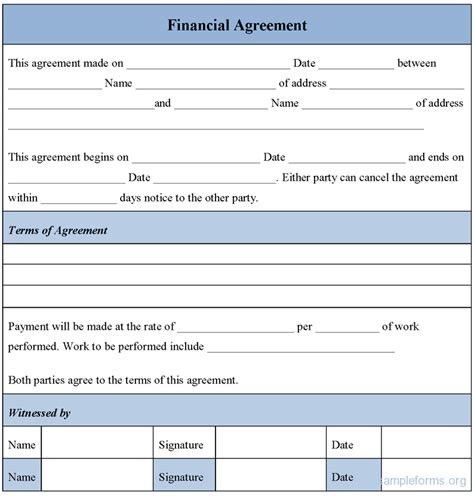 financial agreement form sle financial agreement form