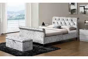 Velvet Sleigh Bed Westminster Silver Crushed Velvet Sleigh Bed Or King Size Sleep Design
