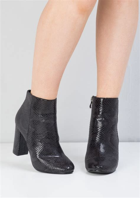 Side Zip Chunky Heel Ankle Boots snakeskin side zip chunky heel ankle boots black