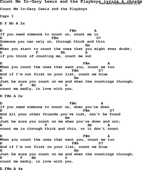 ukulele tutorial count on me love song lyrics for count me in gary lewis and the
