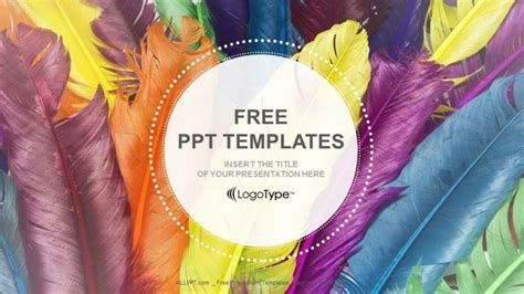 free colorful powerpoint templates feathers in colors recreation powerpoint templates