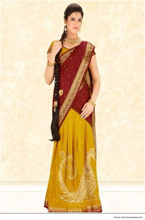 different styles of draping saree half saree draping style most popular saree draping