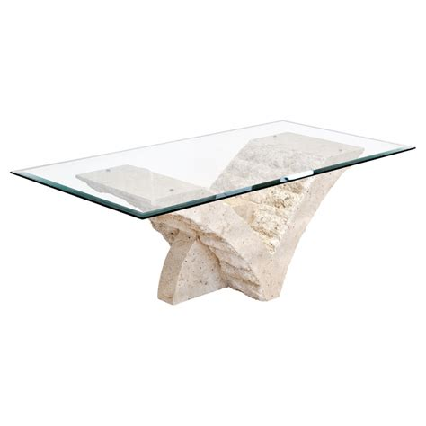 mactan stone and glass seagull coffee table